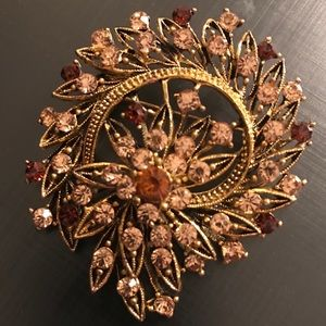 Gold Floral & Leaf Abstract Brooch *2/$25